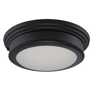 Chance Aged Bronze One Light LED Flush Mount Fixture with Frosted Glass
