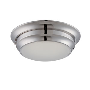 Dash Brushed Nickel One Light LED Flush Mount Fixture with Frosted Glass