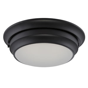 Dash Aged Bronze One Light LED Flush Mount Fixture with Frosted Glass