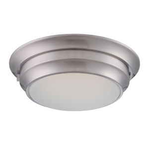 Dash Polished Nickel One Light LED Flush Mount Fixture with Frosted Glass