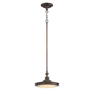 Houston Rustic Brass One Light LED Pendant with Frosted Glass