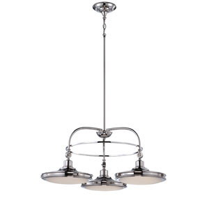 Houston Polished Nickel Three Light LED Chandelier with Frosted Glass