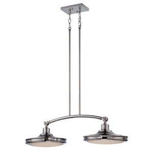 Houston Polished Nickel Two Light LED Pendant with Frosted Glass