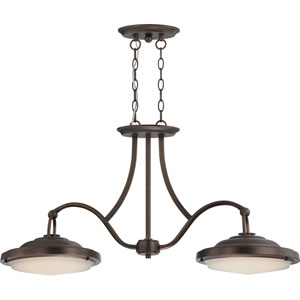 Sawyer Rustic Brass LED 35-Inch Wide Island Pendant with Frosted Glass