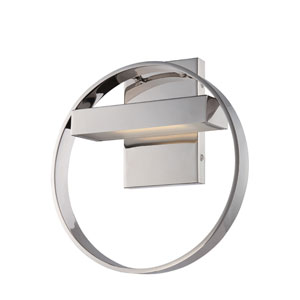 Cirque Polished Nickel One Light LED Vanity Fixture with Frosted Glass