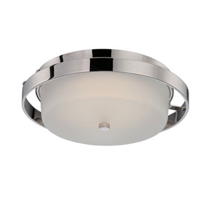 Cirque Polished Nickel One Light LED Flush Mount Fixture with Frosted Glass
