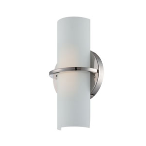 Tucker Polished Nickel One Light LED Vanity Fixture with Etched Opal Glass