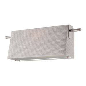 Claire Polished Nickel One Light LED Vanity Fixture with White Fabric Shade