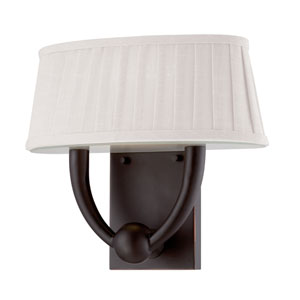 Kent Copper Espresso One Light LED Vanity Fixture with White Linen Fabric