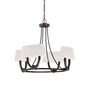 Kent Copper Espresso Four Light LED Chandelier with White Linen Fabric