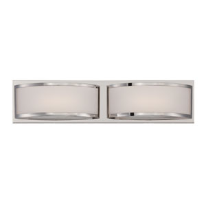 Mercer Polished Nickel Two Light LED Vanity Fixture with Frosted Glass
