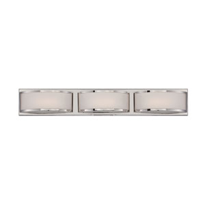 Mercer Polished Nickel Three Light LED Vanity Fixture with Frosted Glass