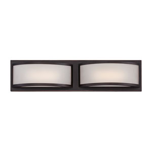 Mercer Georgetown Bronze Two Light LED Vanity Fixture with Frosted Glass