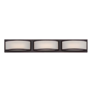 Mercer Georgetown Bronze Three Light LED Vanity Fixture with Frosted Glass