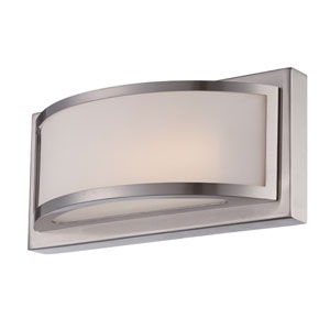 Mercer Brushed Nickel One Light LED Vanity Fixture with Frosted Glass