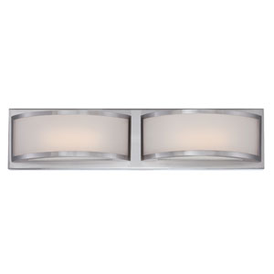 Mercer Brushed Nickel Two Light LED Vanity Fixture with Frosted Glass
