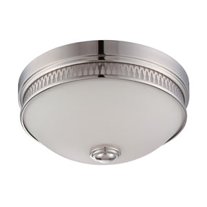 Harper Polished Nickel One Light LED Flush Mount Fixture with Frosted Glass
