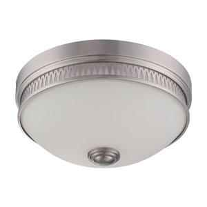 Harper Brushed Nickel One Light LED Flush Mount Fixture with Frosted Glass