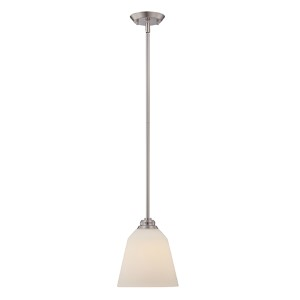 Calvin Brushed Nickel LED Mini Pendant with Satin White Glass