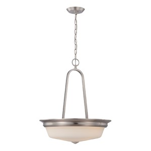 Calvin Brushed Nickel LED Bowl Pendant with Satin White Glass
