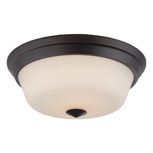 Calvin Mahogany Bronze LED Flush Mount with Satin White Glass