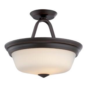 Calvin Mahogany Bronze LED Semi-Flush with Satin White Glass