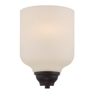 Kirk Mahogany Bronze LED Wall Sconce with Etched Opal Glass