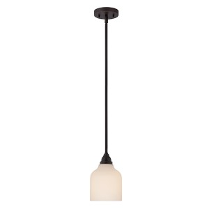 Kirk Mahogany Bronze LED Mini Pendant with Etched Opal Glass