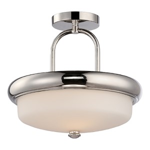 Dylan Polished Nickel LED Semi-Flush with Etched Opal Glass