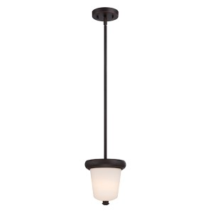 Dylan Mahogany Bronze LED Mini Pendant with Etched Opal Glass