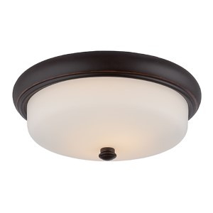 Dylan Mahogany Bronze LED Flush Mount with Etched Opal Glass