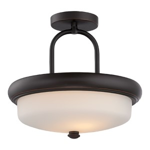 Dylan Mahogany Bronze LED Semi-Flush with Etched Opal Glass
