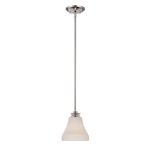 Cody Polished Nickel LED Mini Pendant with Satin White Glass