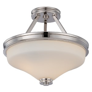 Cody Polished Nickel LED Semi-Flush with Satin White Glass