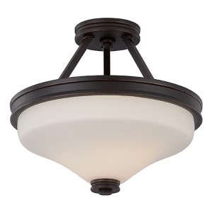 Cody Mahogany Bronze LED Semi-Flush with Satin White Glass