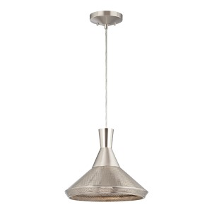 Luger Satin Steel LED Dome Pendant with Perforated Metal Shade