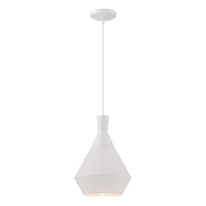 Jake Glacier White LED Dome Pendant with Perforated Metal Shade