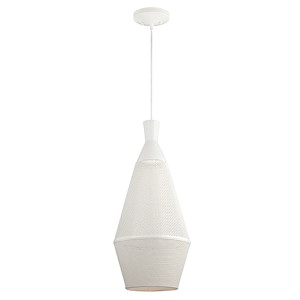 Marx Glacier White LED Dome Pendant with Perforated Metal Shade