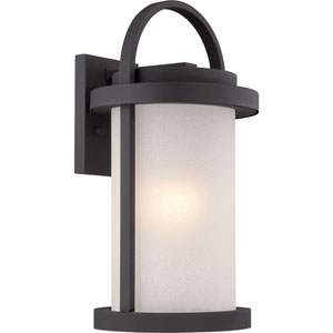 Willis Textured Black 9-Inch One-Light LED Outdoor Wall Lantern