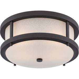 Willis Textured Black Two-Light LED Outdoor Flush Mount