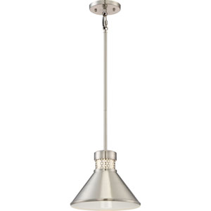 Doral Brushed Nickel and White Accents Small LED Pendant