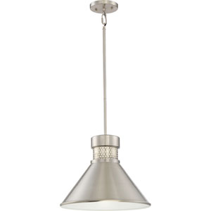 Doral Brushed Nickel and White Accents Large LED Pendant