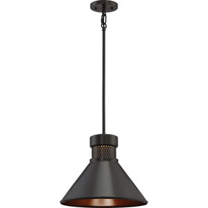 Doral Dark Bronze and Copper Accents Large LED Pendant