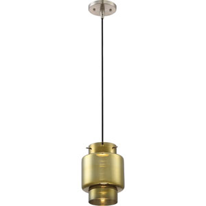 Del Brushed Nickel LED Mini Pendant with Antiqued Glass