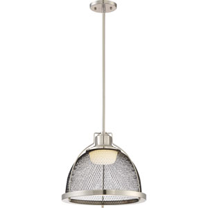 Tex Brushed Nickel and Black Mesh LED Pendant