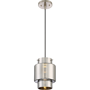 Del Brushed Nickel LED Mini Pendant with Mirrored Glass