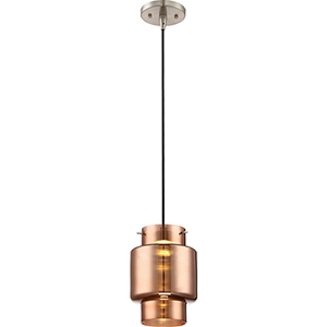 Del Brushed Nickel LED Mini Pendant with Copper Glass