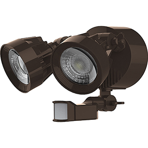 Bronze Energy Star LED Outdoor Dual Head Security Light with Motion Sensor