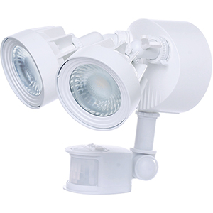 White Energy Star LED Outdoor Dual Head Security Light with Motion Sensor 4000K