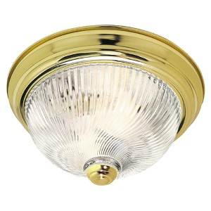 Polished Brass Three-Light 15-Inch Wide Flush Mount with Clear Ribbed Swirl Glass